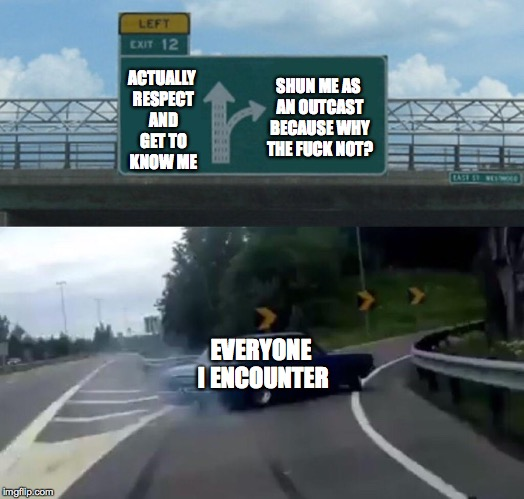 Left Exit 12 Off Ramp Meme | ACTUALLY RESPECT AND GET TO KNOW ME EVERYONE I ENCOUNTER SHUN ME AS AN OUTCAST BECAUSE WHY THE F**K NOT? | image tagged in memes,left exit 12 off ramp | made w/ Imgflip meme maker