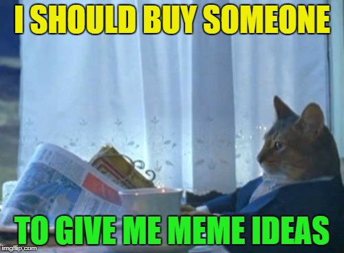 I Should Buy A Boat Cat Meme | I SHOULD BUY SOMEONE TO GIVE ME MEME IDEAS | image tagged in memes,i should buy a boat cat | made w/ Imgflip meme maker