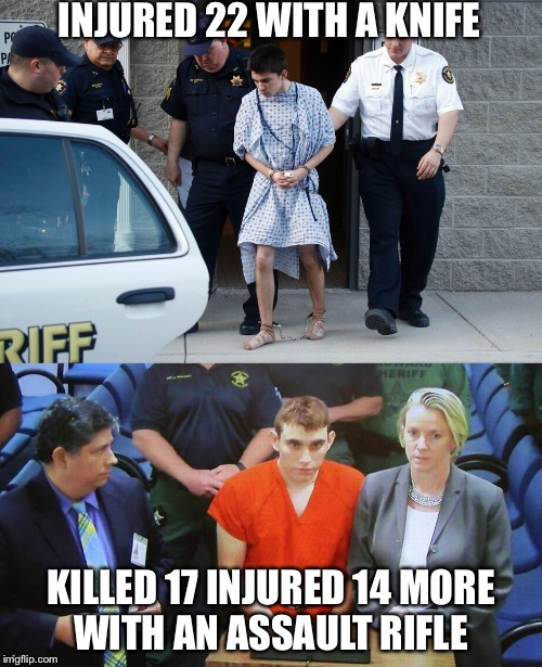 See The Difference | INJURED 22 WITH A KNIFE KILLED 17 INJURED 14 MORE WITH AN ASSAULT RIFLE | image tagged in assault rifle,knife,school shooting,nikolas cruz,gun control,mental health | made w/ Imgflip meme maker