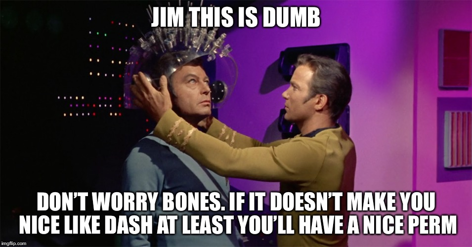 Spock's brain | JIM THIS IS DUMB DON'T WORRY BONES. IF IT DOESN'T MAKE YOU NICE LIKE DASH AT LEAST YOU'LL HAVE A NICE PERM | image tagged in spock's brain | made w/ Imgflip meme maker