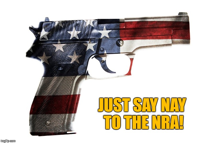 Flag Gun | JUST SAY NAY TO THE NRA! | image tagged in nra,just say nay to nra,no guns,no nra | made w/ Imgflip meme maker