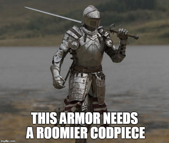 THIS ARMOR NEEDS A ROOMIER CODPIECE | made w/ Imgflip meme maker