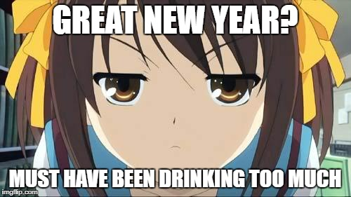 Haruhi stare | GREAT NEW YEAR? MUST HAVE BEEN DRINKING TOO MUCH | image tagged in haruhi stare | made w/ Imgflip meme maker