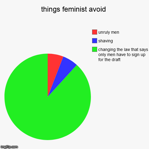 things feminist avoid | changing the law that says only men have to sign up for the draft, shaving, unruly men | image tagged in funny,pie charts | made w/ Imgflip pie chart maker