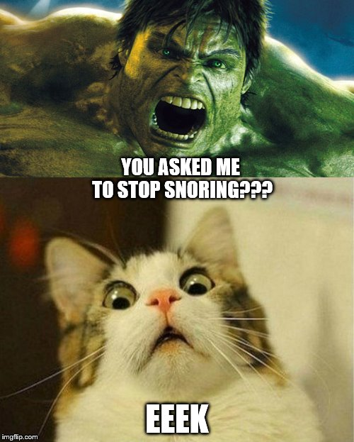 Life with a Narcissist  | YOU ASKED ME TO STOP SNORING??? EEEK | image tagged in meme,narcissist,hulk,anger,rage,abuse | made w/ Imgflip meme maker