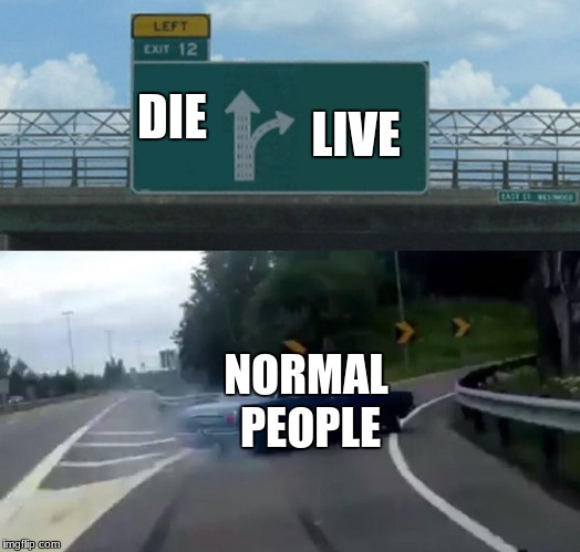 Left Exit 12 Off Ramp Meme | DIE LIVE NORMAL PEOPLE | image tagged in memes,left exit 12 off ramp | made w/ Imgflip meme maker