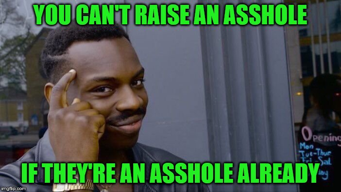 Roll Safe Think About It Meme | YOU CAN'T RAISE AN ASSHOLE IF THEY'RE AN ASSHOLE ALREADY | image tagged in memes,roll safe think about it | made w/ Imgflip meme maker