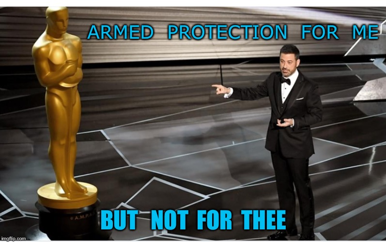 Safety  | ARMED  PROTECTION  FOR  ME BUT   NOT  FOR  THEE | image tagged in oscars | made w/ Imgflip meme maker