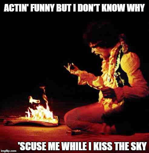 Jimi Hendrix | ACTIN' FUNNY BUT I DON'T KNOW WHY 'SCUSE ME WHILE I KISS THE SKY | image tagged in jimi hendrix | made w/ Imgflip meme maker