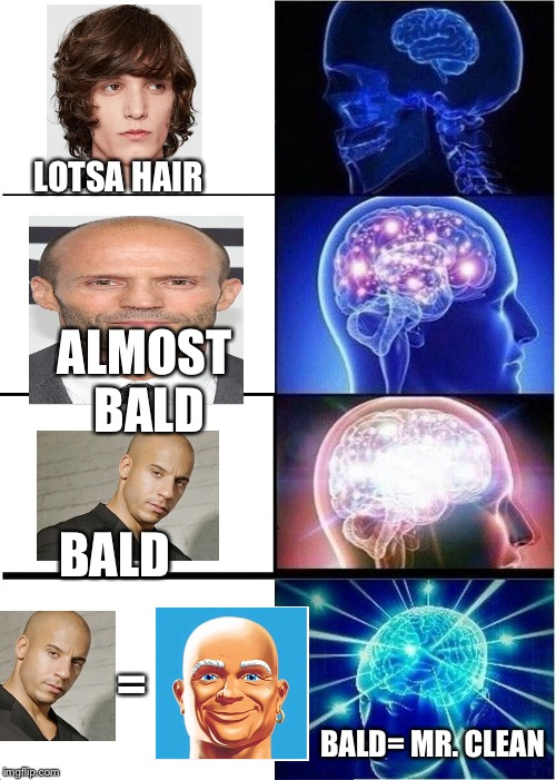 Expanding Brain Meme |  LOTSA HAIR; ALMOST BALD; BALD; =; BALD= MR. CLEAN | image tagged in memes,expanding brain | made w/ Imgflip meme maker