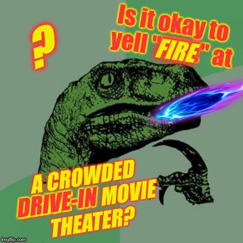 Philosoraptor Asks the Burning Questions! | . | image tagged in philosoraptor,free speech,first amendment,fire,theater | made w/ Imgflip meme maker