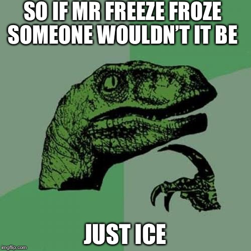 Philosoraptor Meme | SO IF MR FREEZE FROZE SOMEONE WOULDN'T IT BE JUST ICE | image tagged in memes,philosoraptor,mr freeze,batman,justice,puns | made w/ Imgflip meme maker