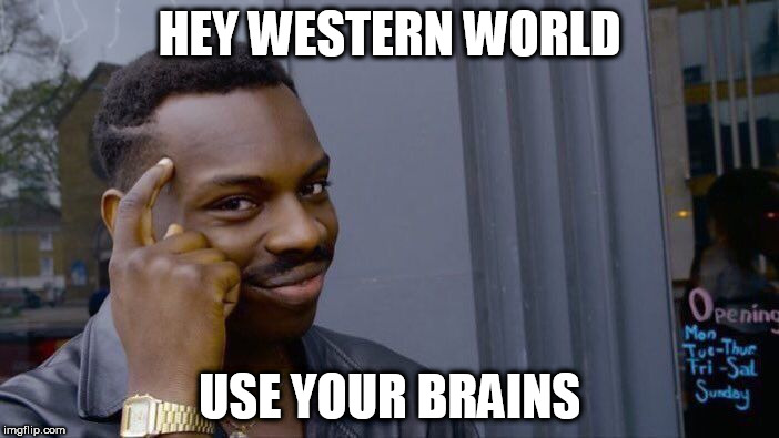 Roll Safe Think About It | HEY WESTERN WORLD USE YOUR BRAINS | image tagged in memes,roll safe think about it,western world,brains | made w/ Imgflip meme maker