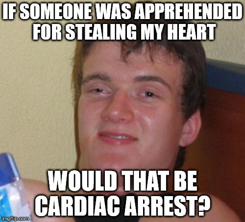 10 Guy Meme | IF SOMEONE WAS APPREHENDED FOR STEALING MY HEART WOULD THAT BE CARDIAC ARREST? | image tagged in memes,10 guy | made w/ Imgflip meme maker