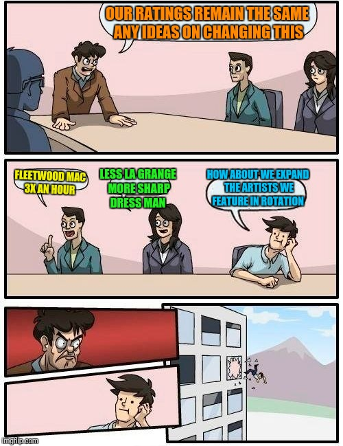 Boardroom Meeting Suggestion Meme | OUR RATINGS REMAIN THE SAME ANY IDEAS ON CHANGING THIS FLEETWOOD MAC 3X AN HOUR LESS LA GRANGE MORE SHARP DRESS MAN HOW ABOUT WE EXPAND THE  | image tagged in memes,boardroom meeting suggestion | made w/ Imgflip meme maker