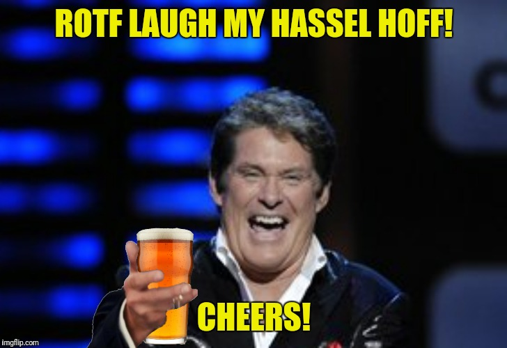 ROTF LAUGH MY HASSEL HOFF! CHEERS! | made w/ Imgflip meme maker