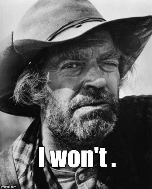jack elam | I won't . | image tagged in jack elam | made w/ Imgflip meme maker