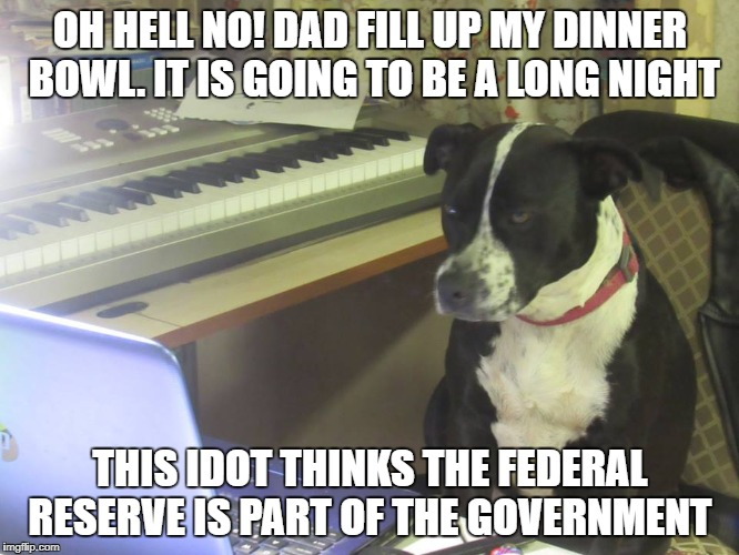 OH HELL NO! DAD FILL UP MY DINNER BOWL. IT IS GOING TO BE A LONG NIGHT THIS IDOT THINKS THE FEDERAL RESERVE IS PART OF THE GOVERNMENT | image tagged in federal reserve | made w/ Imgflip meme maker