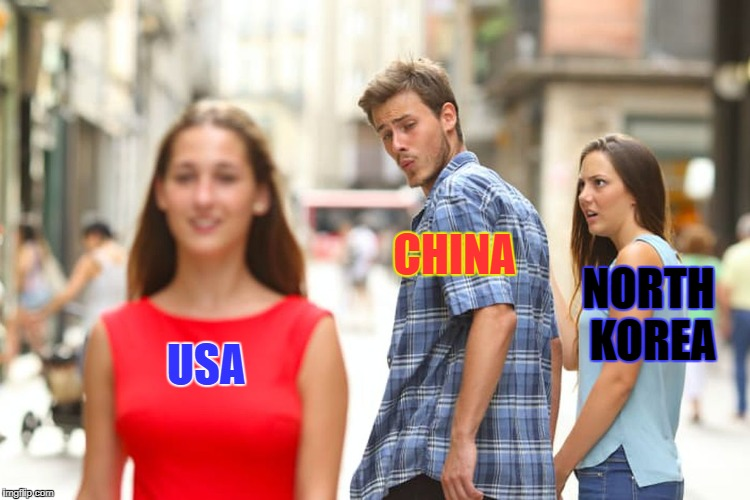 When you're so close to leaving them for dead | USA CHINA NORTH KOREA | image tagged in memes,distracted boyfriend | made w/ Imgflip meme maker