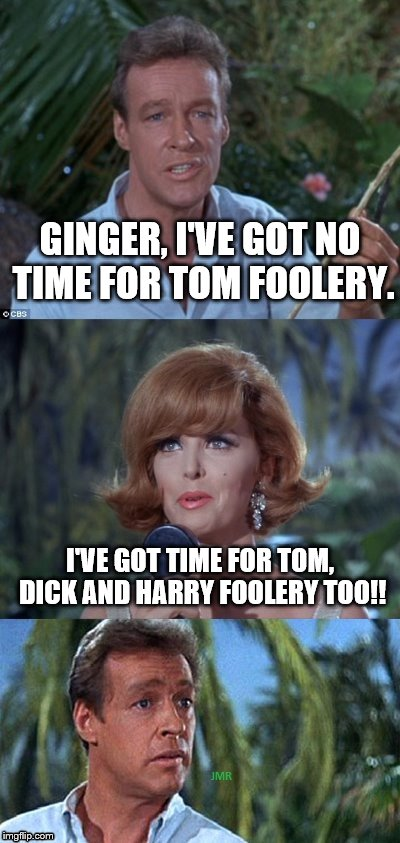 Oh My! | GINGER, I'VE GOT NO TIME FOR TOM FOOLERY. I'VE GOT TIME FOR TOM, DICK AND HARRY FOOLERY TOO!! | image tagged in gilligans's island ginger  professor,tom foolery | made w/ Imgflip meme maker