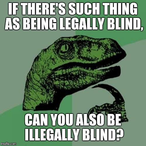 Philosoraptor Meme | IF THERE'S SUCH THING AS BEING LEGALLY BLIND, CAN YOU ALSO BE ILLEGALLY BLIND? | image tagged in memes,philosoraptor | made w/ Imgflip meme maker