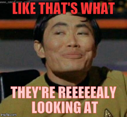 Sulu knows what you're talking about,,, | LIKE THAT'S WHAT THEY'RE REEEEEALY LOOKING AT | image tagged in sulu knows what you're talking about | made w/ Imgflip meme maker