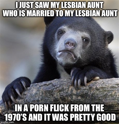 No Joke | I JUST SAW MY LESBIAN AUNT WHO IS MARRIED TO MY LESBIAN AUNT IN A PORN FLICK FROM THE 1970'S AND IT WAS PRETTY GOOD | image tagged in memes,confession bear,true story | made w/ Imgflip meme maker