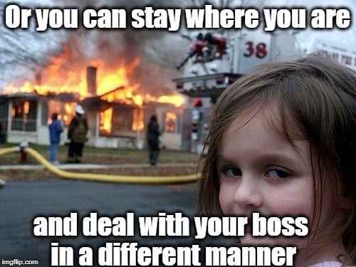 Disaster Girl Meme | Or you can stay where you are and deal with your boss in a different manner | image tagged in memes,disaster girl | made w/ Imgflip meme maker