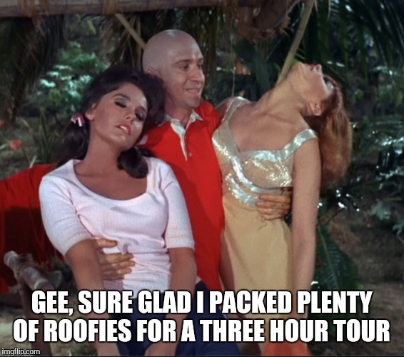 Gilligan's Island Week March 5th-12th A DrSarcasm Event | GEE, SURE GLAD I PACKED PLENTY OF ROOFIES FOR A THREE HOUR TOUR | image tagged in jbmemegeek,gilligan's island,gilligans island | made w/ Imgflip meme maker