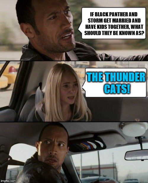 Black PantherXStorm? | IF BLACK PANTHER AND STORM GET MARRIED AND HAVE KIDS TOGETHER, WHAT SHOULD THEY BE KNOWN AS? THE THUNDER CATS! | image tagged in memes,the rock driving,black panther,storm,x-men,marvel | made w/ Imgflip meme maker