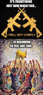The NRA's Golden Calf | IT'S FRIGHTENING JUST HOW MUCH THIS... ... IS BEGINNING TO FEEL LIKE THIS. | image tagged in gun worship,gun control,false gods | made w/ Imgflip meme maker