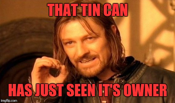 One Does Not Simply Meme | THAT TIN CAN HAS JUST SEEN IT'S OWNER | image tagged in memes,one does not simply | made w/ Imgflip meme maker