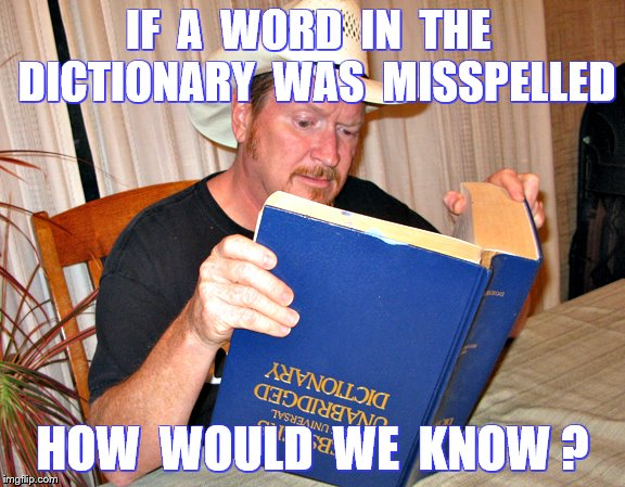 Illiteracy | IF  A  WORD  IN  THE  DICTIONARY  WAS  MISSPELLED HOW  WOULD  WE  KNOW ? | image tagged in memes,funny,literacy,bacon cheeseburgers | made w/ Imgflip meme maker