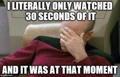 Captain Picard Facepalm Meme | I LITERALLY ONLY WATCHED 30 SECONDS OF IT AND IT WAS AT THAT MOMENT | image tagged in memes,captain picard facepalm | made w/ Imgflip meme maker