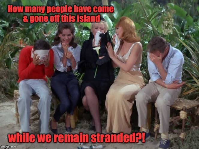That Island was like Grand Central Station | . | image tagged in memes,gilligans island week,rescue,visitors,drsarcasm,funny memes | made w/ Imgflip meme maker