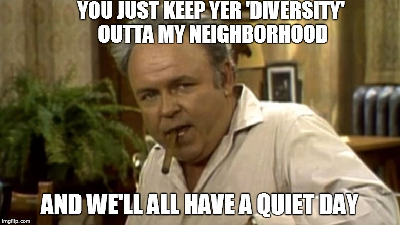 YOU JUST KEEP YER 'DIVERSITY' OUTTA MY NEIGHBORHOOD AND WE'LL ALL HAVE A QUIET DAY | made w/ Imgflip meme maker