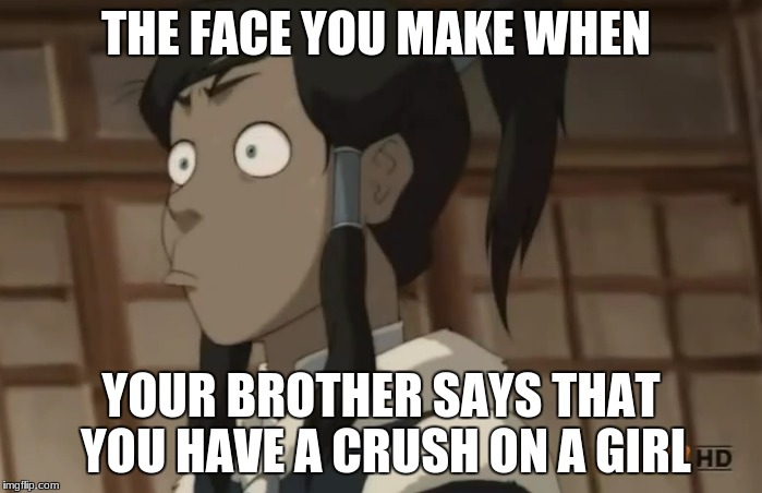 The face you make | THE FACE YOU MAKE WHEN YOUR BROTHER SAYS THAT YOU HAVE A CRUSH ON A GIRL | image tagged in the legend of korra,memes | made w/ Imgflip meme maker