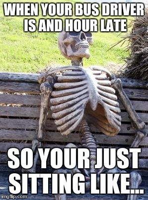 Waiting Skeleton Meme | WHEN YOUR BUS DRIVER IS AND HOUR LATE SO YOUR JUST SITTING LIKE... | image tagged in memes,waiting skeleton | made w/ Imgflip meme maker