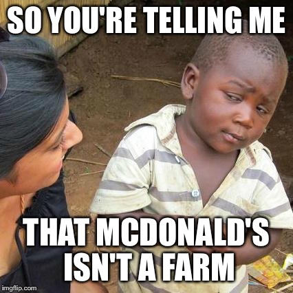 Remember the Old McDonald rhyme? I thought this was true for 4 years! | SO YOU'RE TELLING ME THAT MCDONALD'S ISN'T A FARM | image tagged in memes,third world skeptical kid,old mcdonald,mcdonald's,farm,fast food | made w/ Imgflip meme maker