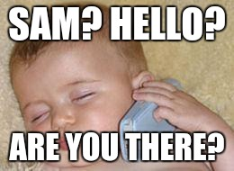 baby sleeping on phone | SAM? HELLO? ARE YOU THERE? | image tagged in baby sleeping on phone | made w/ Imgflip meme maker
