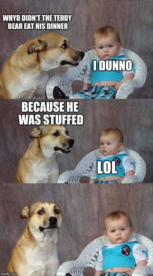 Dad Joke Dog Meme | WHYD DIDN'T THE TEDDY BEAR EAT HIS DINNER I DUNNO BECAUSE HE WAS STUFFED LOL | image tagged in memes,dad joke dog | made w/ Imgflip meme maker