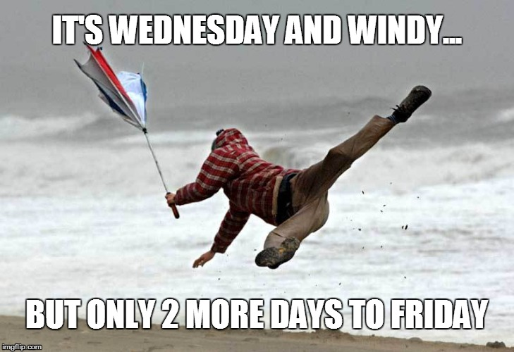 IT'S WEDNESDAY AND WINDY... BUT ONLY 2 MORE DAYS TO FRIDAY | image tagged in windy,wednesday,friday | made w/ Imgflip meme maker
