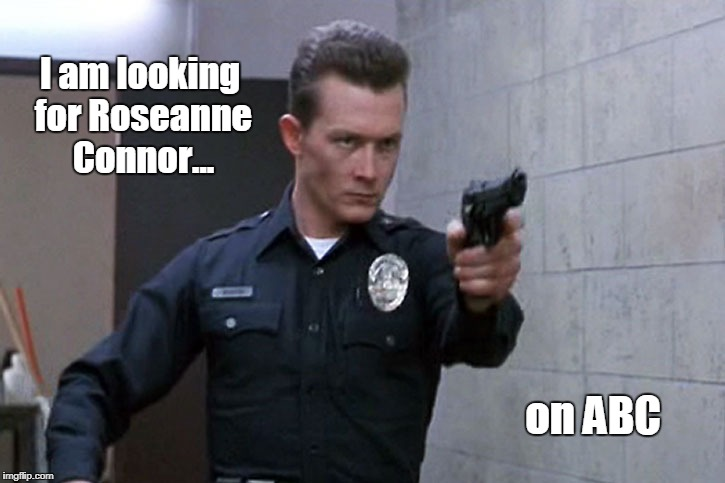 Terminator Roseanne | I am looking for Roseanne Connor... on ABC | image tagged in terminator 2,roseanne,funny | made w/ Imgflip meme maker