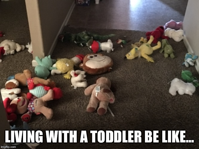 Toddler Life | LIVING WITH A TODDLER BE LIKE... | image tagged in toddler,life,messy | made w/ Imgflip meme maker