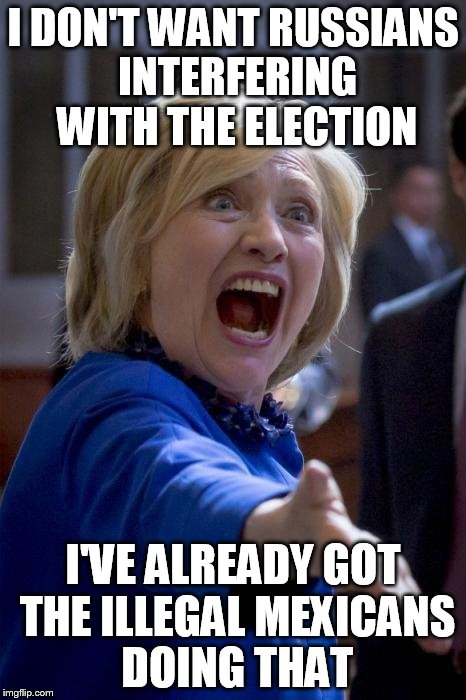 WTF Hillary | I DON'T WANT RUSSIANS INTERFERING WITH THE ELECTION I'VE ALREADY GOT THE ILLEGAL MEXICANS DOING THAT | image tagged in wtf hillary | made w/ Imgflip meme maker