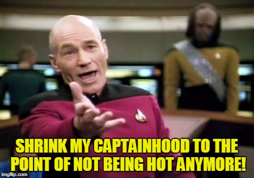 Picard Wtf Meme | SHRINK MY CAPTAINHOOD TO THE POINT OF NOT BEING HOT ANYMORE! | image tagged in memes,picard wtf | made w/ Imgflip meme maker