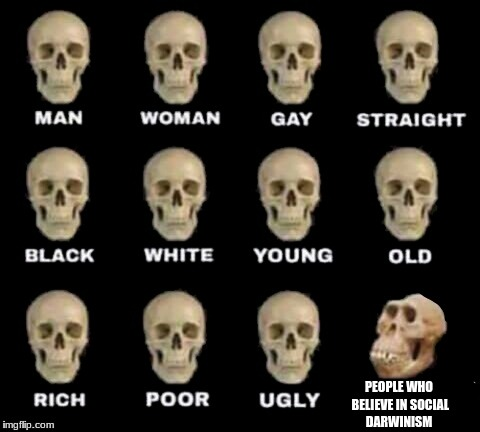 idiot skull | PEOPLE WHO BELIEVE IN SOCIAL DARWINISM | image tagged in idiot skull | made w/ Imgflip meme maker