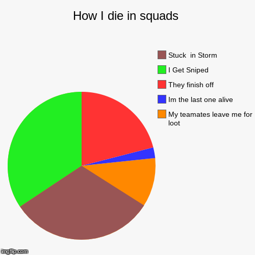 How I die in squads | My teamates leave me for loot, Im the last one alive, They finish off, I Get Sniped, Stuck  in Storm | image tagged in funny,pie charts | made w/ Imgflip pie chart maker