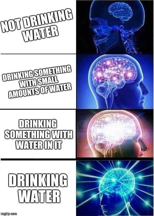 Expanding Brain Meme | NOT DRINKING WATER DRINKING SOMETHING WITH SMALL AMOUNTS OF WATER DRINKING SOMETHING WITH WATER IN IT DRINKING WATER | image tagged in memes,expanding brain | made w/ Imgflip meme maker
