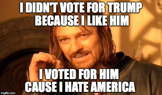 One Does Not Simply Meme | I DIDN'T VOTE FOR TRUMP BECAUSE I LIKE HIM I VOTED FOR HIM CAUSE I HATE AMERICA | image tagged in memes,one does not simply | made w/ Imgflip meme maker